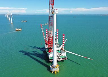 国内首台10兆瓦海上风电机组并网发电